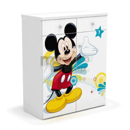 Comoda copii 2 usi 2 sertare Mickey Mouse